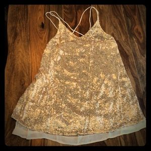 Sexy sequined gold/rose mini dress